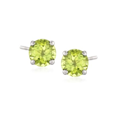 1.80 ct. t.w. Peridot Stud Earrings in 14kt White Gold