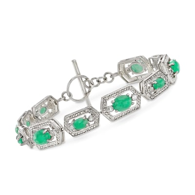 13.00 ct. t.w. Emerald and .40 ct. t.w. White Zircon Toggle Bracelet in Sterling Silver