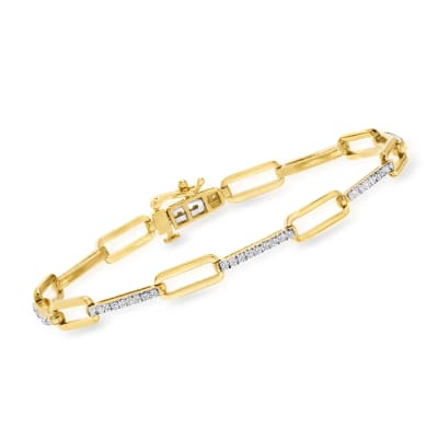 .50 ct. t.w. Diamond Paper Clip Link Bracelet in 18kt Gold Over Sterling