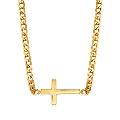 14kt Yellow Gold Sideways Cross Adjustable Necklace