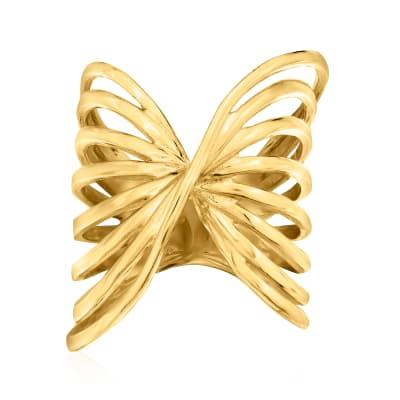 Italian 18kt Gold Over Sterling Openwork Twist Ring