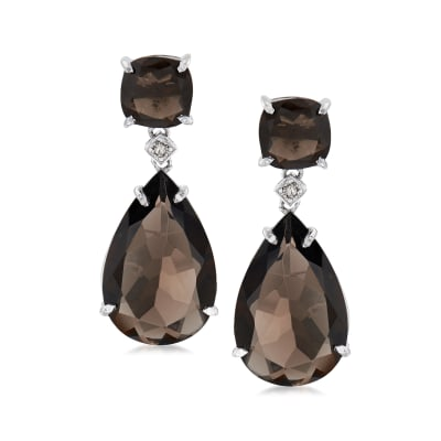 Smoky Quartz Teardrop Earrings with Diamond Accents in Sterling Silver