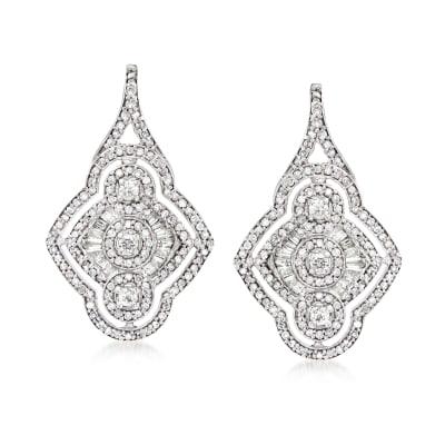 1.00 ct. t.w. Diamond Openwork Drop Earrings in Sterling Silver
