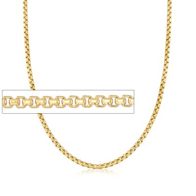 Men's 3.5mm 14kt Yellow Gold Box Chain Necklace