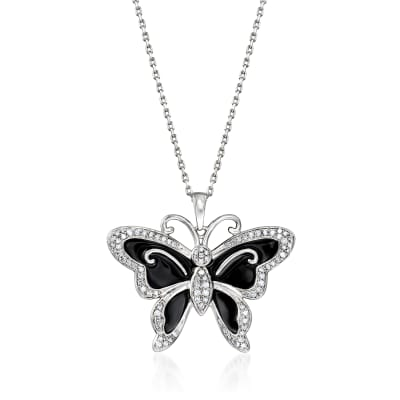 .25 ct. t.w. Diamond and Black Enamel Butterfly Pendant Necklace in Sterling Silver