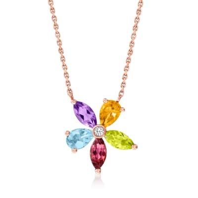 1.90 ct. t.w. Multi-Gemstone Flower Necklace in 14kt Rose Gold