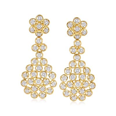 .50 ct. t.w. Diamond Multi-Circle Drop Earrings in 18kt Gold Over Sterling