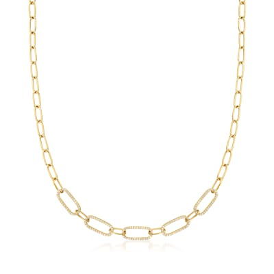 .33 ct. t.w. Diamond Paper Clip Link Necklace in 14kt Yellow Gold