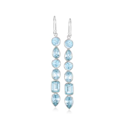 12.90 ct. t.w. Sky Blue Topaz Drop Earrings in Sterling Silver