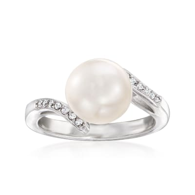 9-9.5mm Cultured Pearl and .89 ct. t.w. Diamond Ring in Sterling Silver