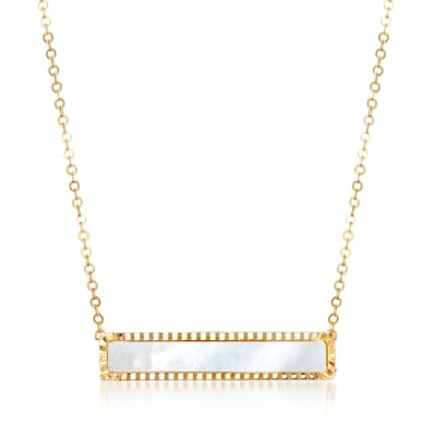 Italian Mother-Of-Pearl Bar Necklace in 14kt Yellow Gold