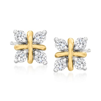 .10 ct. t.w. Diamond Crisscross Stud Earrings in Platinum and 14kt Yellow Gold