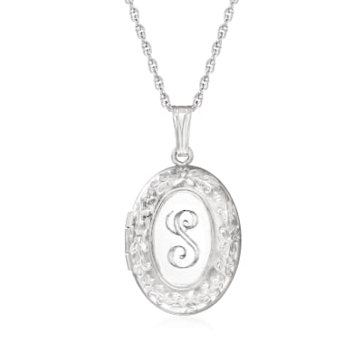 Italian Sterling Silver Single-Initial Floral Locket Necklace