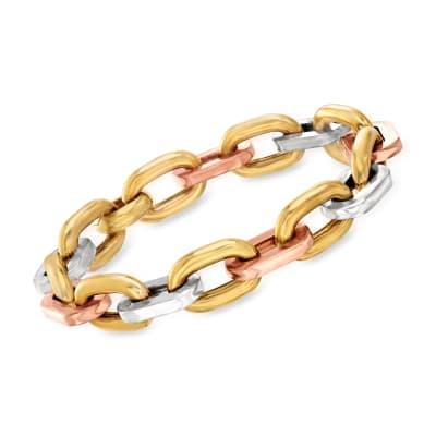 C. 1990 Vintage 18kt Tri-Colored Gold Link Bracelet