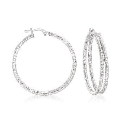 Italian Sterling Silver Double-Hoop Earrings