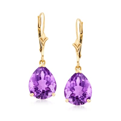 5.50 ct. t.w. Pear-Shaped Amethyst Earrings in 14kt Yellow Gold