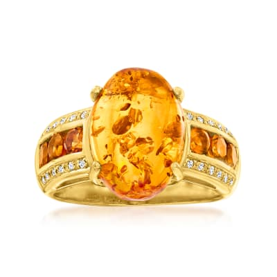 Amber Ring with .50 ct. t.w. Citrines with White Topaz Accents in 18kt Gold Over Sterling