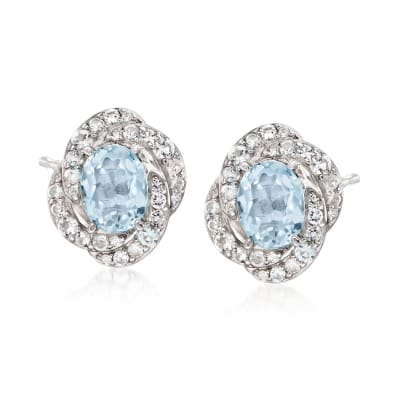 2.60 ct. t.w. Aquamarine and .80 ct. t.w. White Topaz Earrings in Sterling Silver