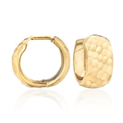 14kt Yellow Gold Diamond-Cut Huggie Hoop Earrings