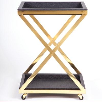 Black and Gold Square Bar Cart