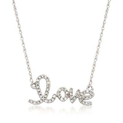 ".10 ct. t.w. Diamond ""Love"" Necklace in 14kt White Gold"