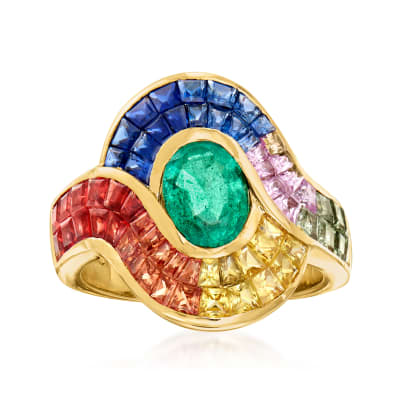 1.30 Carat Emerald and 4.90 ct. t.w. Multicolored Sapphire Ring in 14kt Yellow Gold