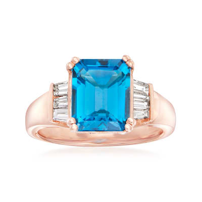 4.00 Carat London Blue Topaz and .34 ct. t.w. Diamond Ring in 14kt Rose Gold