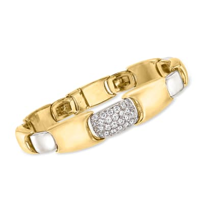 C. 1980 Vintage 2.00 ct. t.w. Diamond Bracelet in 18kt Two-Tone Gold