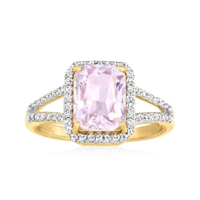 2.80 Carat Kunzite Ring with .24 ct. t.w. Diamonds in 18kt Gold Over Sterling