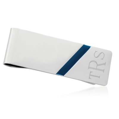 Sterling Silver and Blue Enamel Monogram Money Clip