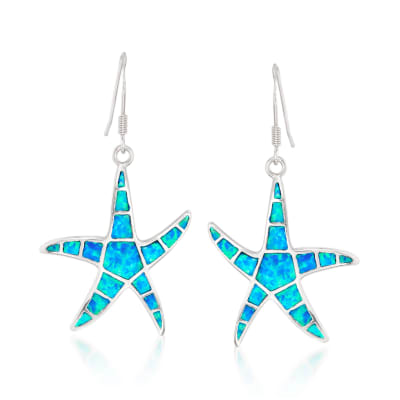 Blue Synthetic Opal Starfish Drop Earrings in Sterling Silver