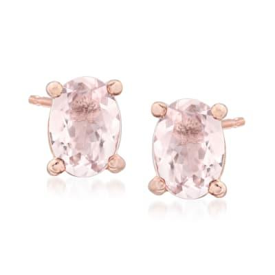 1.40 ct. t.w. Morganite Stud Earrings in 14kt Rose Gold Over Sterling