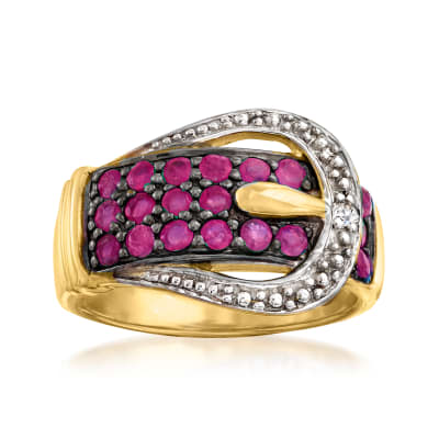 1.00 ct. t.w. Ruby Buckle Ring in 18kt Gold Over Sterling