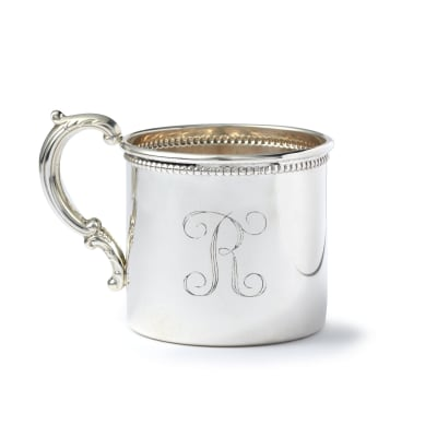 Baby's Sterling Silver Personalized Cup with Floral Handle