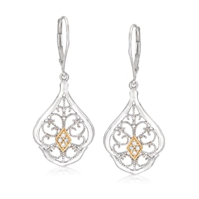 .10 ct. t.w. Diamond Openwork Drop Earrings in Sterling Silver and 14kt Yellow Gold