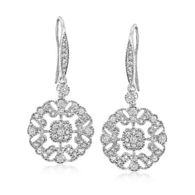 .75 ct. t.w. Diamond Openwork Drop Earrings in Sterling Silver