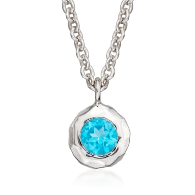 "Zina Sterling Silver ""Sahara"" .60 Carat Blue Topaz Pendant Necklace"