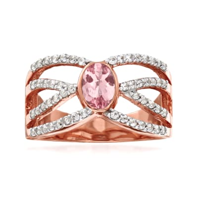 .50 ct. t.w. White Zircon and .45 Carat Morganite Crisscross Ring in 18kt Rose Gold Over Sterling