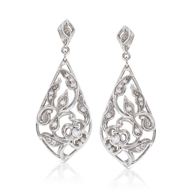 "Belle Etoile ""Empress"" .20 ct. t.w. CZ Drop Earrings in Sterling Silver"