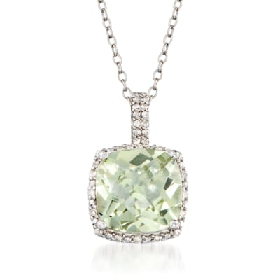 4.00 Carat Prasiolite and .10 ct. t.w. Diamond Pendant Necklace in Sterling Silver