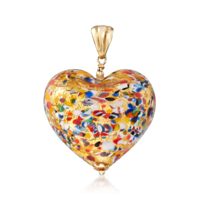 Italian Murano Glass Heart Pendant in 18kt Gold Over Sterling