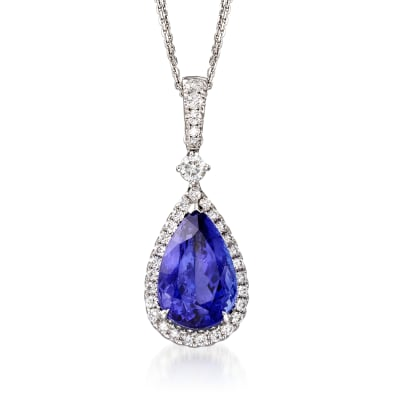 8.75 Carat Tanzanite and .98 ct. t.w. Diamond Pendant Necklace in 18kt White Gold