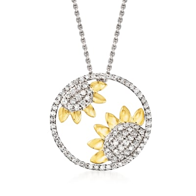 .50 ct. t.w. Diamond Sunflower Necklace in Sterling Silver with 14kt Yellow Gold