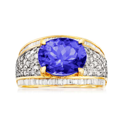 4.00 Carat Tanzanite and 1.10 ct. t.w. Diamond Ring in 14kt Yellow Gold