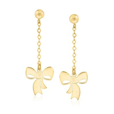 Italian 14kt Yellow Gold Bow Drop Earrings