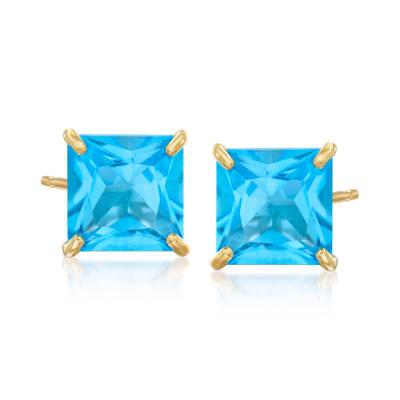 4.00 ct. t.w. Swiss Blue Topaz Square Stud Earrings in 14kt Yellow Gold