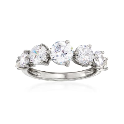 2.40 ct. t.w. CZ Graduated Seven-Stone Ring in Sterling Silver