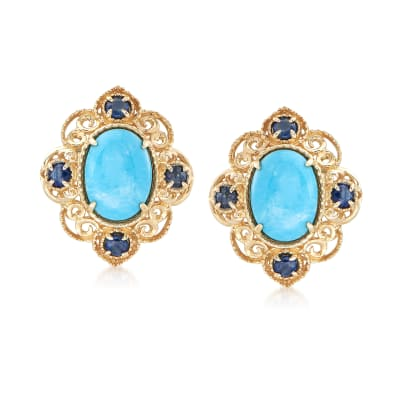 Turquoise and .30 ct. t.w. Sapphire Scrolled Earrings in 14kt Yellow Gold