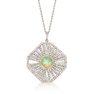 Multi-Gem Pendant Necklace in Sterling Silver and 18kt Gold Over Sterling