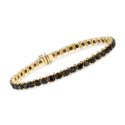 8.00 ct. t.w. Black Diamond Tennis Bracelet in 14kt Yellow Gold